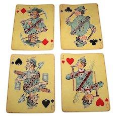 "4 SINGLES (Set of Jacks), USPC ""Hustling Joe No. 61"" Playing Cards, First Edition, c.1895, $10/ea."