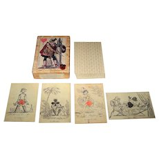 "Il Meneghello ""Giocosa"" (""Playful"") Transformation Playing Cards, Cavallini & Co. Publisher, Limited Ediion ___/1000 [Facsimile Set of ""Cartes à Rire"" – 1819 Designs of Baron Louis Atthalin (""Gioci dei Giornali"" – ""Game of Newspapers"")], c.1997"