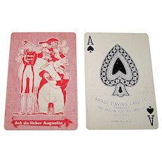 "Arrco/Arrow ""Ach du Lieber Augustin"" Pinochle Playing Cards, Transition Ace of Spades, c.1935"