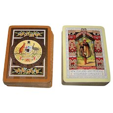 "2 Decks De la Rue ""New Zealand and Federal Steamship Companies"" Maritime Playing Cards (52/52, NJ ea.), c.1912 ($50/ea. separately)"