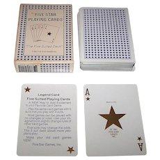 "Gemaco ""Five Star Playing Cards,"" 5-Suit Playing Cards, Five Star Games, Inc. Publisher, c.1991"