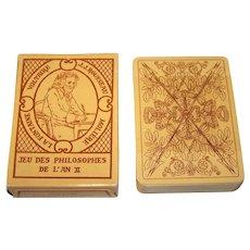 """Editions Dusserre (Boechat Frères) """"Jeu des Philosophes de L'An II"""" Playing Cards, c.1987 (Mint, Sealed)"""