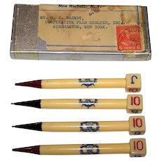 4 Celluloid Mechanical Bridge Pencils, Pilot Brand Oyster Shell Products, c.1938
