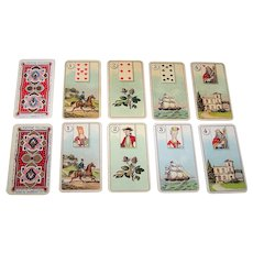 """2 Sets Dondorf/Carreras """"Wahrsage Karten No.1"""" (""""Divining Cards No.1"""") Fortune Telling Cards, Lenormand Type, Carreras Tobacco Inserts, """"Oblong"""" Variant, c.1926, $35/ea. separately"""