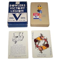 """Western """"Bowlers Victory Legion"""" Pin-Up Playing Cards,"""" c.1945"""