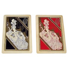 "Twin Decks Russell ""No. 126 Pageant"" Playing Cards, Art Deco Backs, c.1926 ($10/ea. separately)"