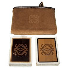 "Twin Decks Fournier ""Loewe"" Playing Cards, w/ Suede Loewe Zip Card Case, c.1964-1979"