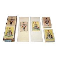 "Fournier Bridge Set w/ 2 Decks Playing Cards and 2 Score Pads, ""The Cardmaker,"" c.1940-1965"
