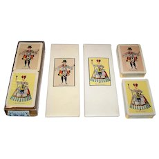 "Fournier Bridge Set w/ 2 Decks Playing Cards and 2 Score Pads, ""The Cardmaker,"" c.1940-1965"