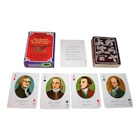 """Merrimack Publishing Corp. """"Declaration of Independence"""" Playing Cards, Portraits and Facsimile Signatures of 52 Signers, c.1976"""
