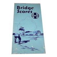 "Santa Fe Railroad ""Bridge Scores"" Folded Scoring Paper, Rand McNally Printing, c.1956"