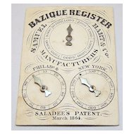 "Samuel Hart & Co. ""Bazique Register,"" (Bezique Counter), ""Saladee's Patent,"" c.1864"
