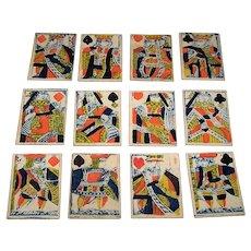 17th Century (?) Antique British Mini-Patience Cards, Partial Deck (40/52)