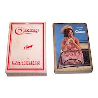 """Universal Playing Card Co. (Alf Cooke, Ltd.) """"Oldham Batteries"""" Advertising Pin-Up Playing Cards – """"So I Told 'em, Oldham"""" – c.1950s"""