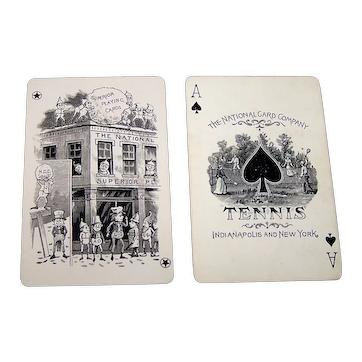 """National Card Co. """"Tennis #144"""" Playing Cards, w/ Special Palmer Cox Joker, c.1885-1890"""