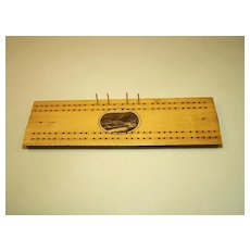 Mauchline Ware Cribbage Board, Barmouth Harbour Transfer, c.1860