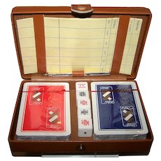 """Sitmar Cruises"" Bridge Set w/ Dice and Leather or Faux Leather Case. Dal Negro Playing Cards, c.1980 (?)"