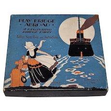 "Buzza Co. ""Play Bridge Abroad"" Bridge Set w/ Art Deco Tallies and Score Pads, ""A Fascinating Bridge Party,"" c.1928"