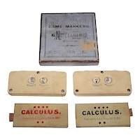"""Celluloid Co. """"Game Markers"""" w/ 2 A.A. Griffing """"Calculus"""" Cards, c.1869-1870"""