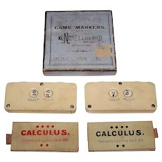 "Celluloid Co. ""Game Markers"" w/ 2 A.A. Griffing ""Calculus"" Cards, c.1869-1870"