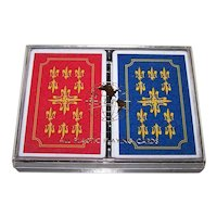 """Double Deck Nintendo 100% Plastic Playing Cards, """"Bur-Wil"""" (?) Box, c.1980s"""