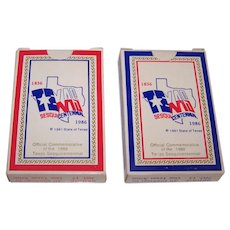 "Twin Decks Alief Products ""Texas"" Playing Cards, Texas Sesquicentennial Deck, Wayne Cook Illustrations, c.1985"