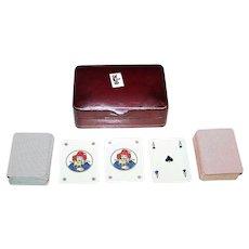 Italian Leather Card Box w/ 2 Decks Modiano Mini-Patience Playing Cards