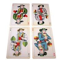 "4 SINGLES: USPC ""Amerikanische Skat No.2"" – German Suits – Set of Under Cards, c.1889"