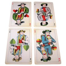"4 SINGLES: USPC ""Amerikanische Skat No.2"" – German Suits – Set of Under Cards, c.1889"