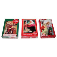 "3 Decks USPC ""Coca Cola Christmas Santa Claus"" Playing Cards, $5/ea."