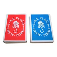 """Double Deck USPC Congress """"Lake Placid"""" Playing Cards, Olympic Torch, c.1980"""
