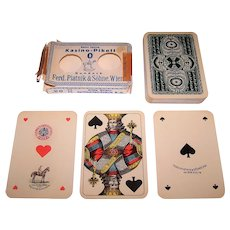 "Piatnik ""Kasino-Pikett 0"" Playing Cards, Skat Deck, Viennese Large Crown Pattern, w/ Wrapper, c.1919-1924"