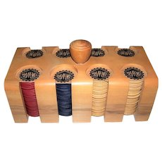 """Pla-'M'-Well"" Wood Poker Chips in Wood Caddy/Carrier, c.1940s"