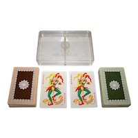 """Double Deck Handa """"Luxus-Salon No. 99"""" Playing Cards (52/52, 2J; and 52/52, 1J), c. 1960s"""