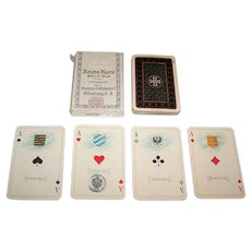 """VSSF Altenburg """"Reichs-Karte"""" Skat Playing Cards, Fritz von Lindenau Designs, c.1915"""