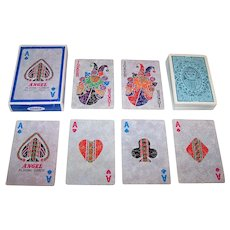 "Angel ""Jeune Fille"" Playing Cards, Red and Blue Suits, c.1985"