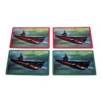 "4 Singles (2 Pairs): Brown & Bigelow ""Pride of the Fleet"" Submarine Playing Cards, ""Red Adaptation Goggles,"" c.1941"
