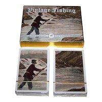 "Double Deck Piatnik ""Vintage Fishing"" Playing Cards, ""Put Together"" Decks, c.2004"