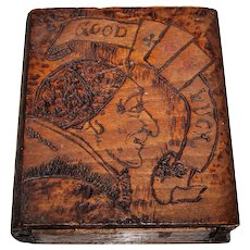 "Bookshelf Pyrographic Playing Card Box, ""Monk with Zucchetto"""