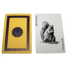 "USPC ""University of Michigan"" Playing Cards, Squirrel Joker, Signature President Ruthven, c.1935"