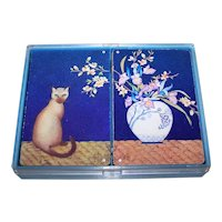 """Double Deck Hallmark """"Cat and Vase"""" Playing Cards, """"Put Together"""" Decks"""