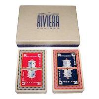 "Double Deck Piatnik ""Riviera Cruises"" Maritime Playing Cards"