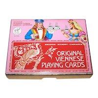 """Double Deck Piatnik """"Original Viennese"""" Playing Cards, Variant """"Wienerbild,"""" Vienna Pattern, Type D (""""Small Crown""""), c.1980"""