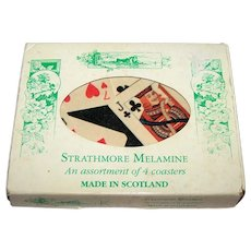 Set of 4 Strathmore Melamine Coasters, Playing Card Designs, c.1950s (?)