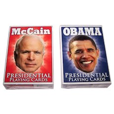 "2 Companion Decks Parody Production ""Presidential Playing Cards,"" Obama and McCain Decks, Kelley Hensing Artwork, c.2008"