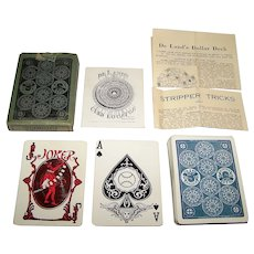 "S.S. Adams Co. ""De Lands Automatic Playing Cards"" w/ De Land's Card Locator and Paper Inserts, c.1918"
