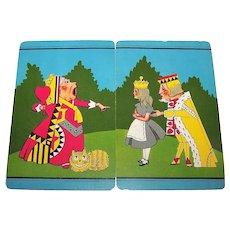 "Double Deck E.E. Fairchild ""Alice in Wonderland"" Put Together Playing Cards (52/52, NJ), John Tenniel Designs, c.1940"