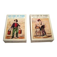 "Two Deck Set Grimaud ""Les Cris de Paris"" Playing Cards, Different Designs, c.1969"