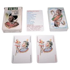 """Grimaud """"Kenya Tribus"""" Playing Cards, Sapra Playing Cards Publisher, c.1991"""