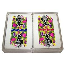 """Double Deck Grimaud """"Banque des Antilles Françaises"""" Playing Cards, James Hodges Designs, c.1973"""